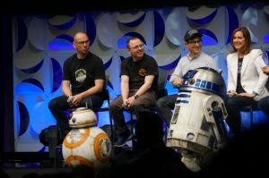 "New 'droid BB-8 introduced to R2-D2 at ""Star Wars: Celebration"" in 2015."