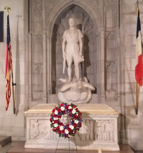 The tomb of WWI aviator Norman Prince in Washington National Cathedral in D.C., Oct 14, 2016